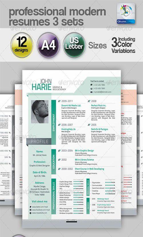 3 Set Modern resumes, Fully Customizable  Editable Vector EPS
