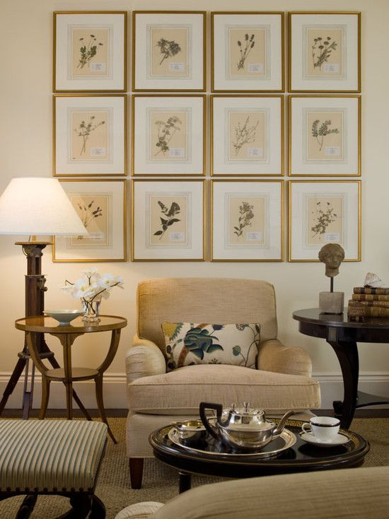 Botanicals arranging a collection of framed flowers creates a gallery look buying all those would cost a small fortune so interior designe