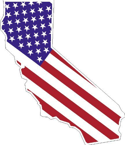 STATE OF CALIFORNIA Shaped American Flag United States Magnet - Us flag and map