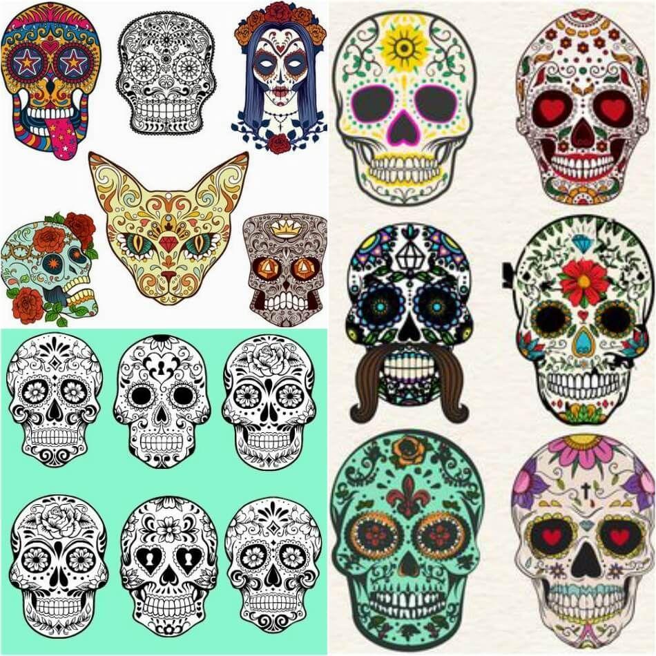 Calavera Tattoo Flash mexican sugar skull tattoos - calavera ink ideas - day of