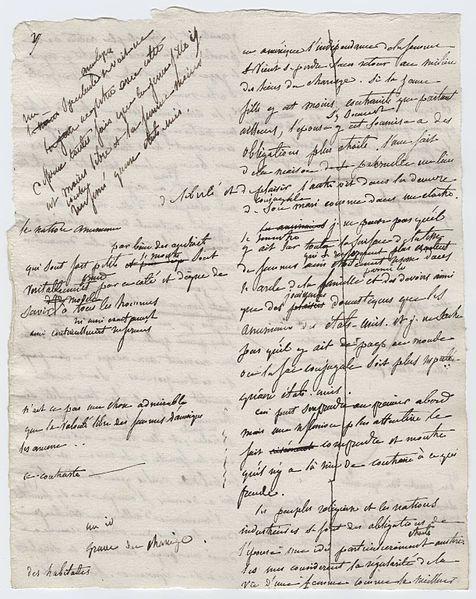 Alexis-Charles-Henri Clérel de Tocqueville. 1835. Original manuscript for Democracy in America.