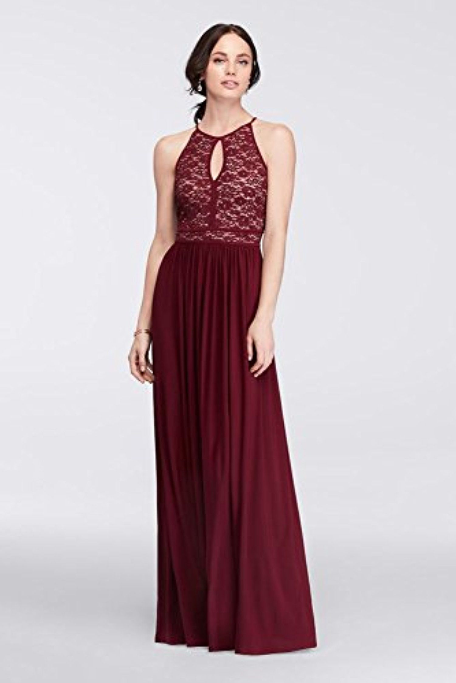 57f1599bdb3 Lace Keyhole Tie Back Halter Dress Style 12089, Wine, 12 -- Awesome  products selected by Anna Churchill
