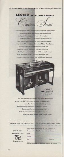 1953 lester piano ad betsy ross spinet vintage music musical instrument ads piano. Black Bedroom Furniture Sets. Home Design Ideas