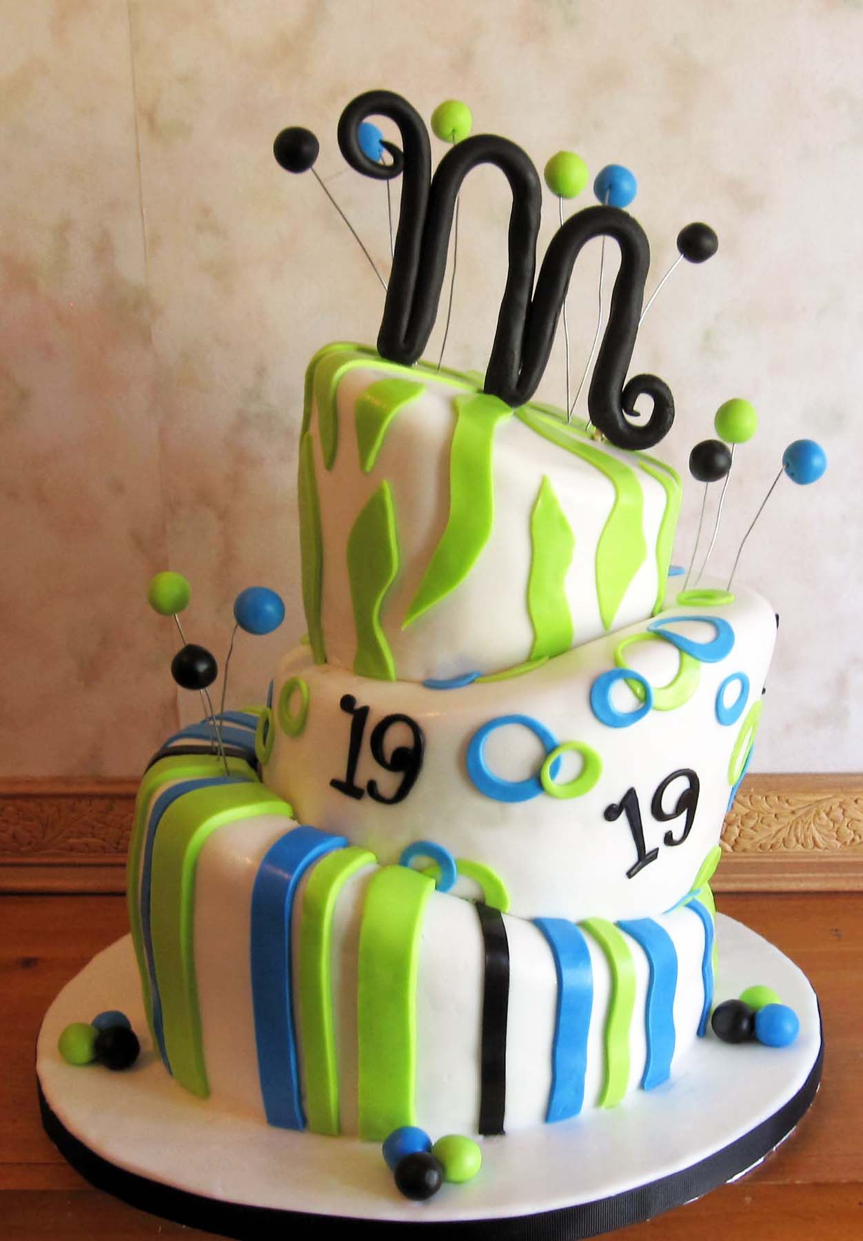 3 Tier Topsy Turvy 19th Birthday Cake 19th birthday