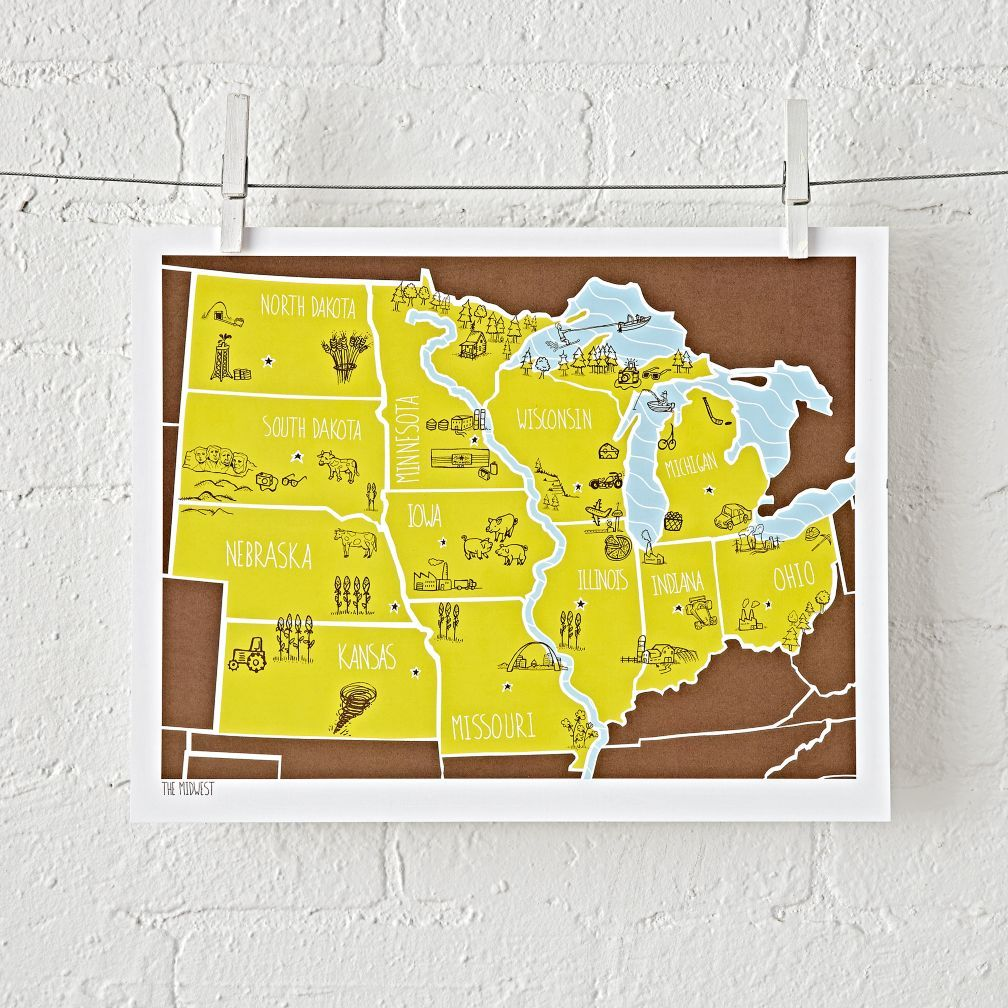 Midwest American Atlas Unframed Wall Art | Walls and Room