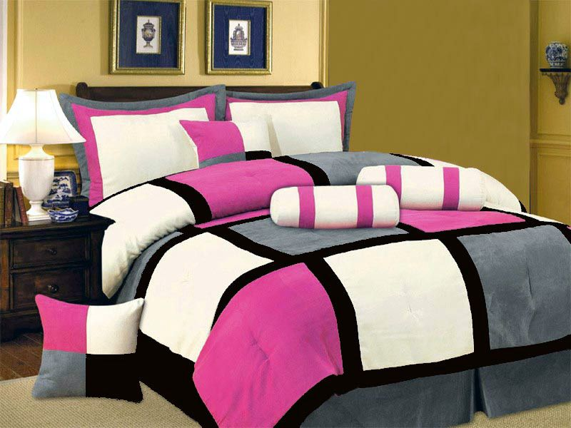 New Pink Black White Gray Bedding Suede Comforter set-Twin Full ...