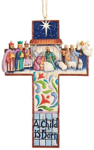 cross nativity scene ornament