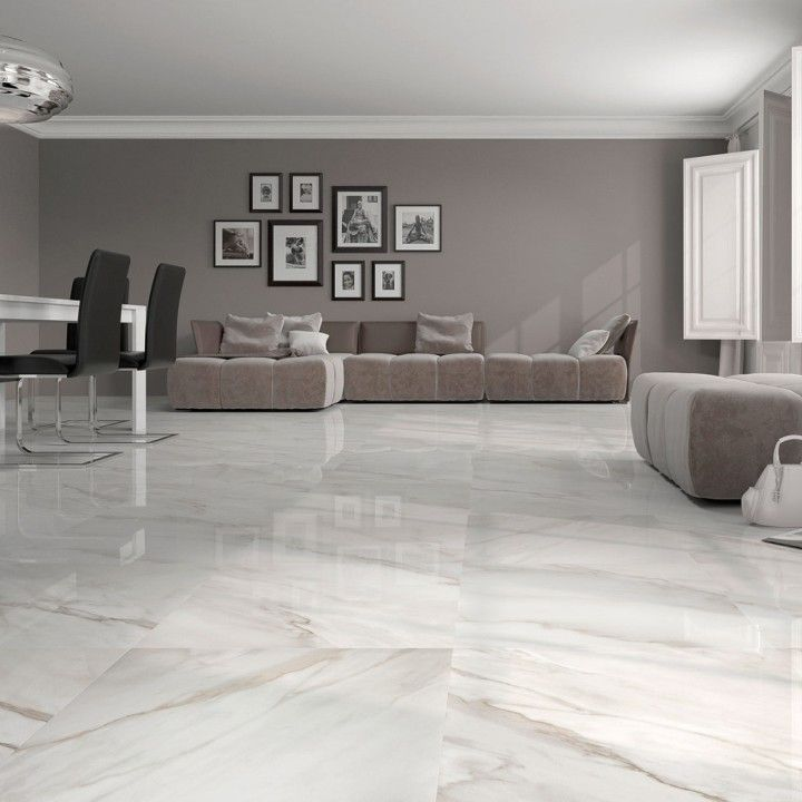 Calacatta white gloss floor tiles have an attractive marble effect ...