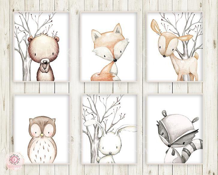 6 Hirsch Fox Bunny Rabbit Bär Eule Waschbär Wand Kunstdruck Woodland Kindergar…