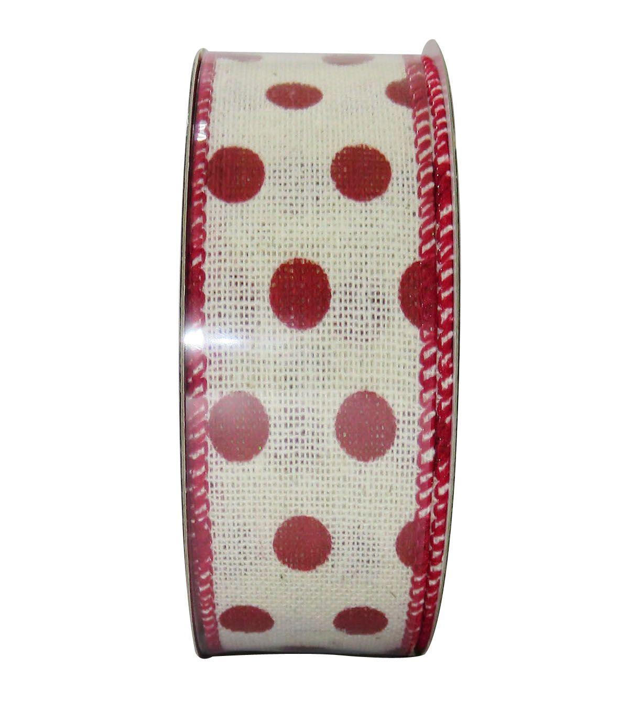 Decorative Ribbon 1.5'' X 15' - Red Dot on Cream