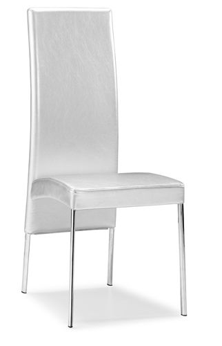 The Argent Dining Chair Comes With A Rectangular High Back That Is Upholstered With A Beautiful White Leather Dining Chairs Dining Chairs Modern Dining Chairs