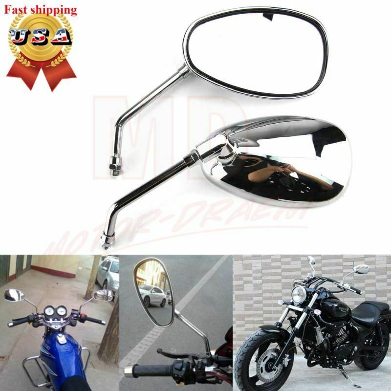 Sponsored Ebay Chrome Motorcycle Oval Rearview Mirrors Long Stem For Honda Suzuki Kawasaki Rear View Mirror Honda Motorbikes Motorcycle Parts And Accessories