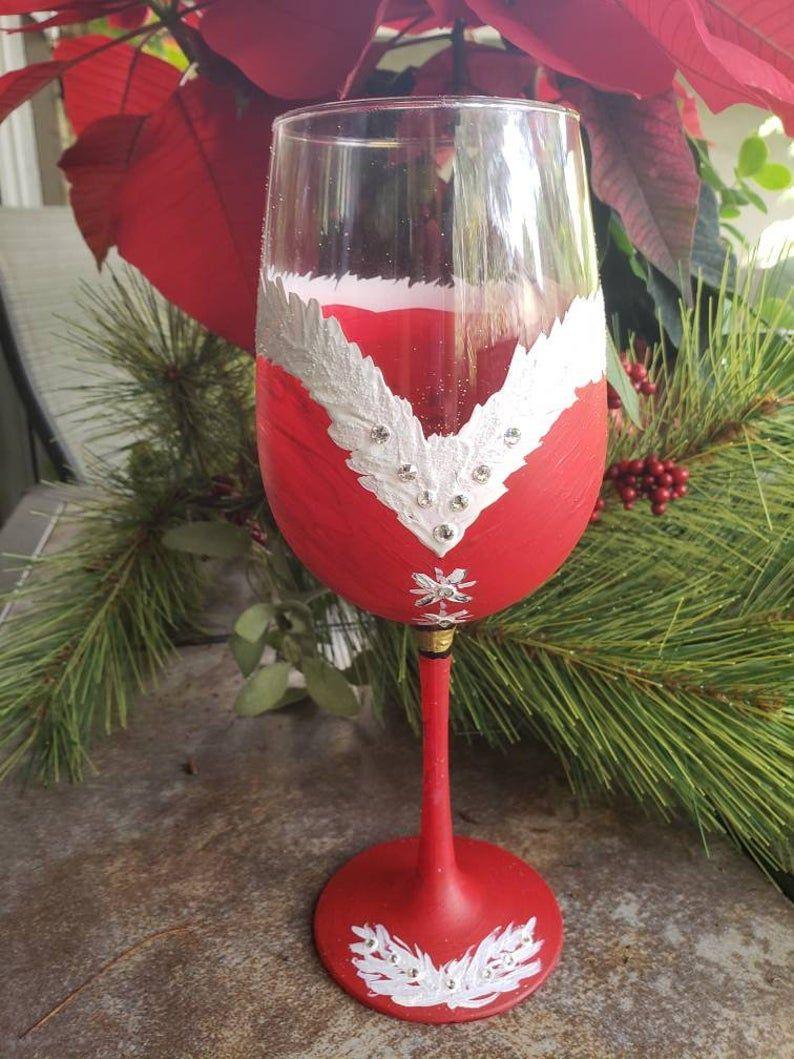 1 Custom Hand Painted Christmas Red White Wine Glass Custom Hand Painted Red Christmas Wine Glass