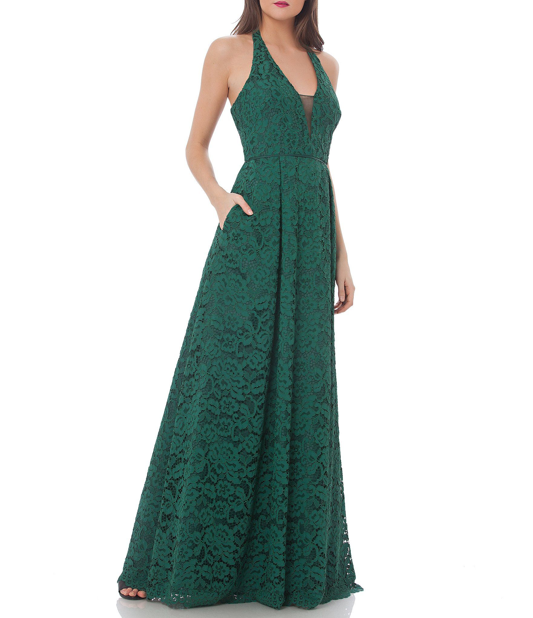 JS Collections Corded Floral Lace Halter Gown | Halter gown, Floral ...