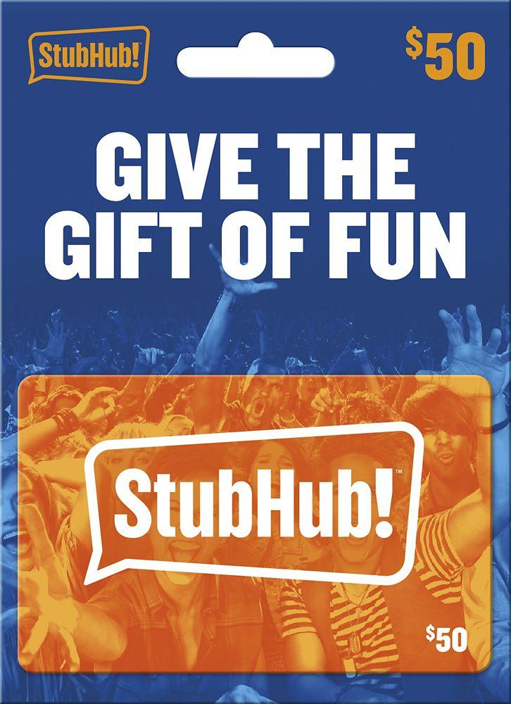 StubHub - $50 StubHub Gift Card   Products   Gift card number, Gifts