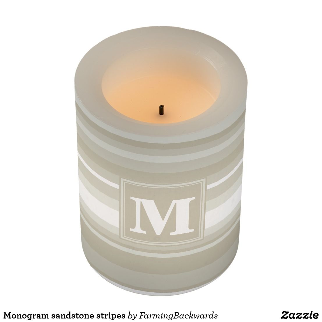 Monogram sandstone stripes flameless candle