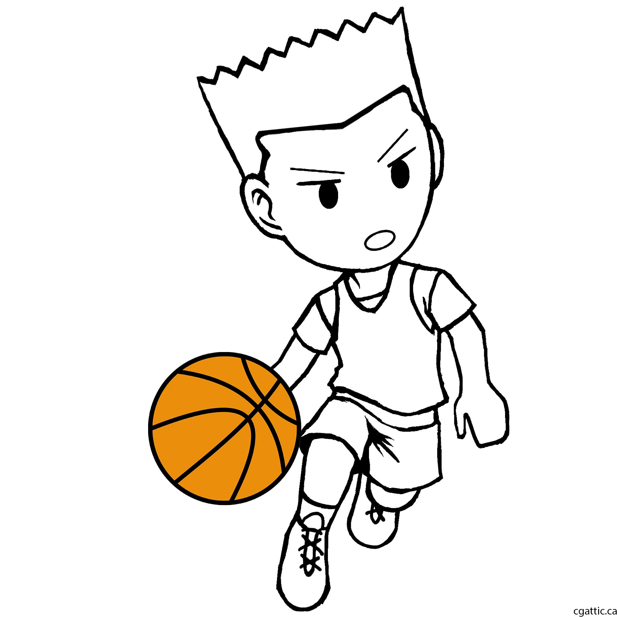 Cartoon Basketball Player Drawing In 4 Steps With Photoshop Basketball Drawings Sports Drawings Drawings