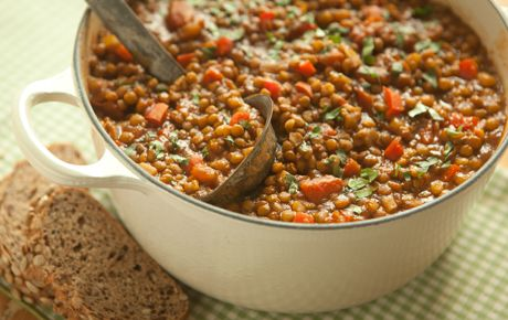 This simple vegetarian chili recipe uses lentils instead of beans. Brown lentils work best as they will hold their shape even when tender after cooking. Serve over brown rice or with whole-grain hearth bread.