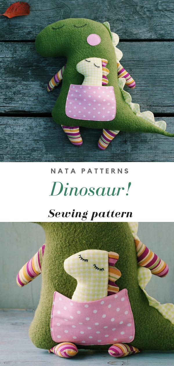 Dinosaur sewing pattern PDF Animal Doll Stuffed Dinosaur tutorial Plush Dinosaur birthday party Stuffed animal sewing pattern Dinosaur toy #instructionstodollpatterns