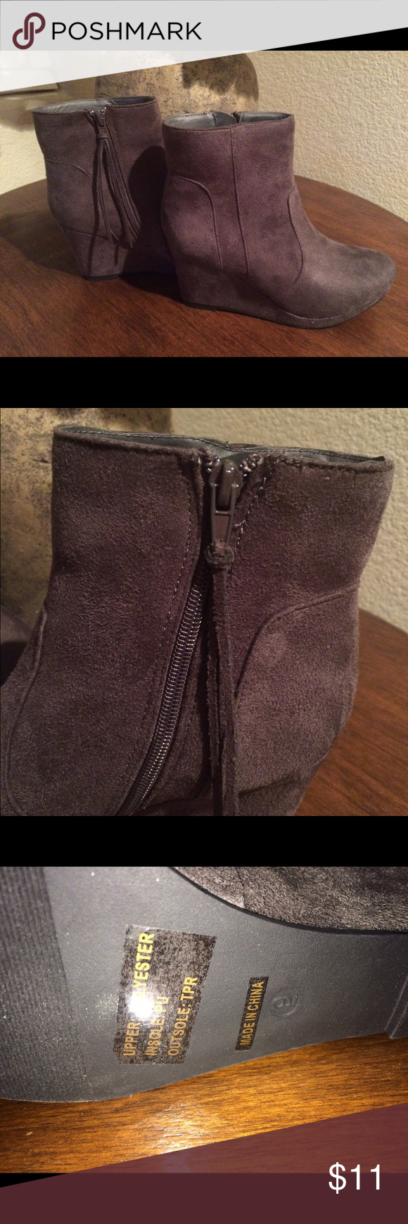 Suede look a like Gray a Boots Cute gray boots with a fun tassled zipper! Never worn! Shoes Ankle Boots & Booties