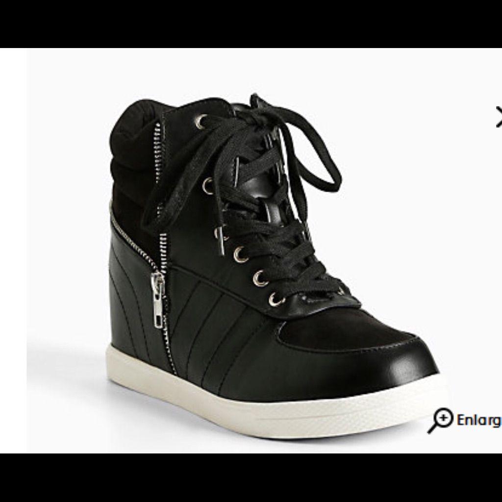a4ea404b4b8 Torrid Black Zip Wedge Sneakers