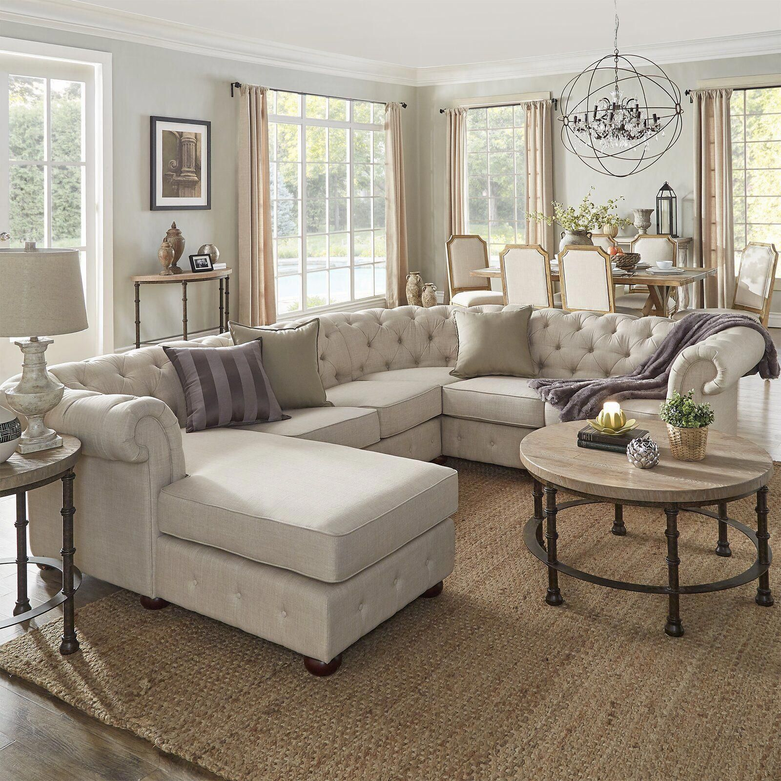Darby Home Co Brockway Sectional   Wayfair homedecorclassic   Farmhouse living room furniture ...