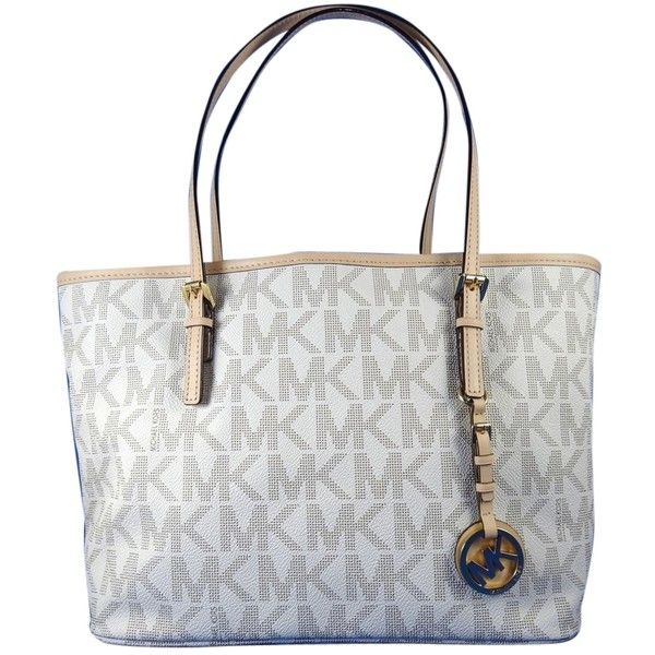 Pre Owned Michael Kors Jet Set Travel Zip Top Mk Logo Vanilla 258 Liked On Polyvore Featuring Bags Handbags Tote