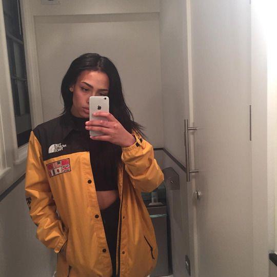 98eb175980 (Cold   50 50) Girly Tomboy   Tomboy    Black   Yellow North Face Jacket