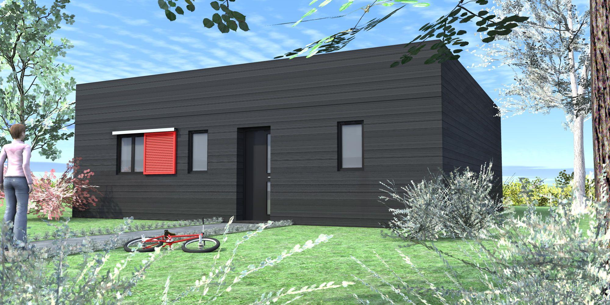 Maisons en bois mod le patio vue ext rieure rue gamme for Absolument maison bhv