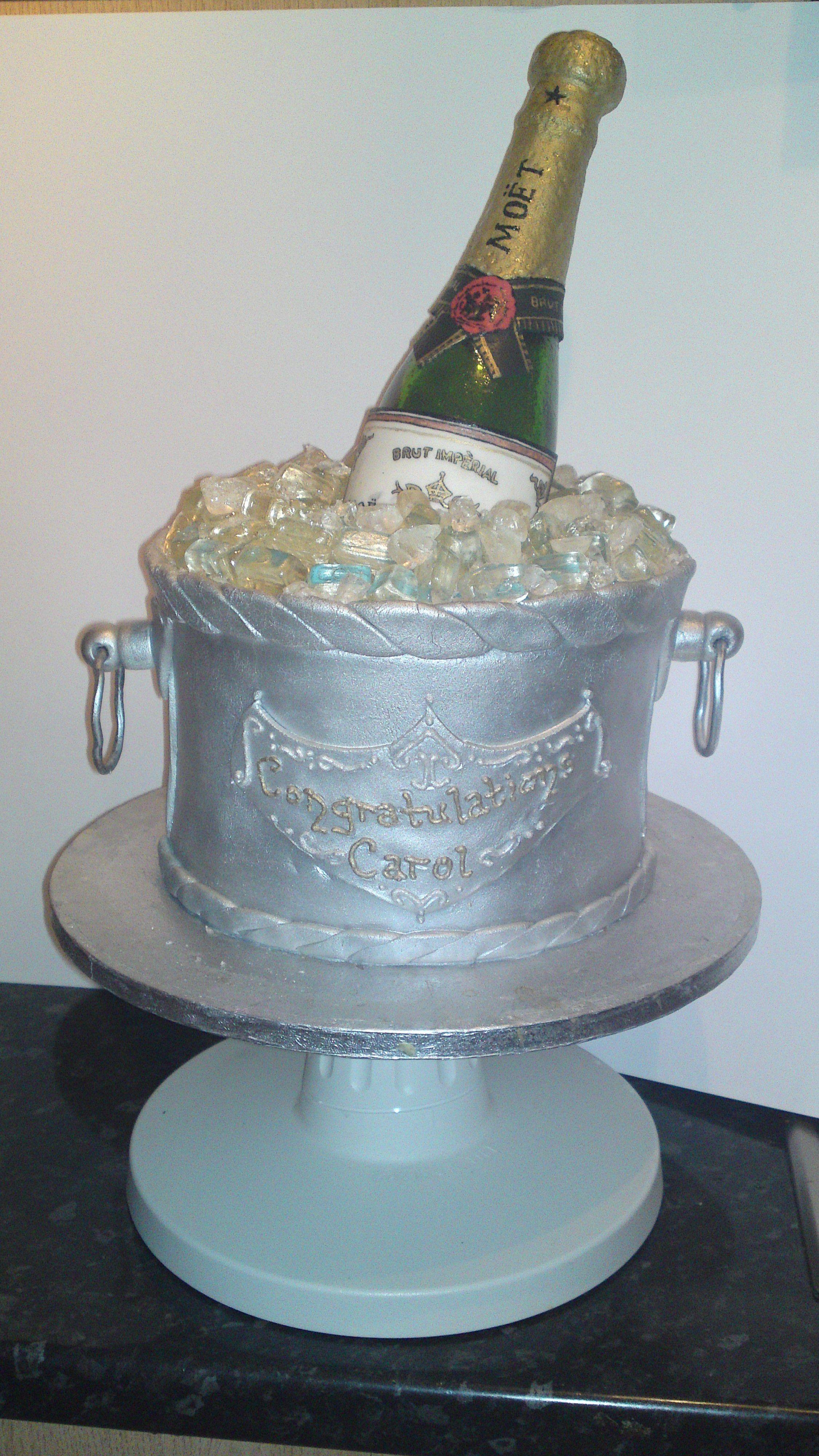Champagne Bottle Cake - Sugar bottle, painted label, cake bucket