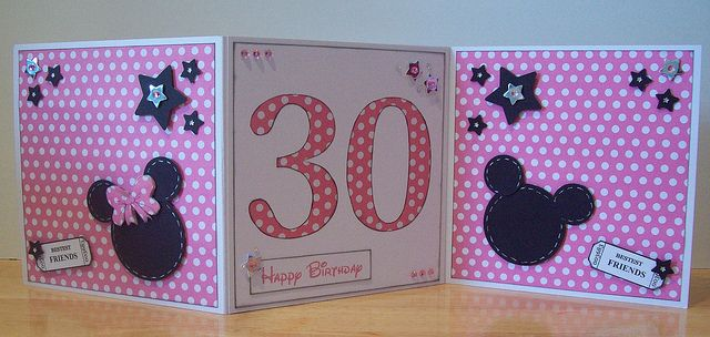 3 Page 30th Birthday Mickey Mouse Card Disney Birthday Card Card Patterns Scrapbook Cards