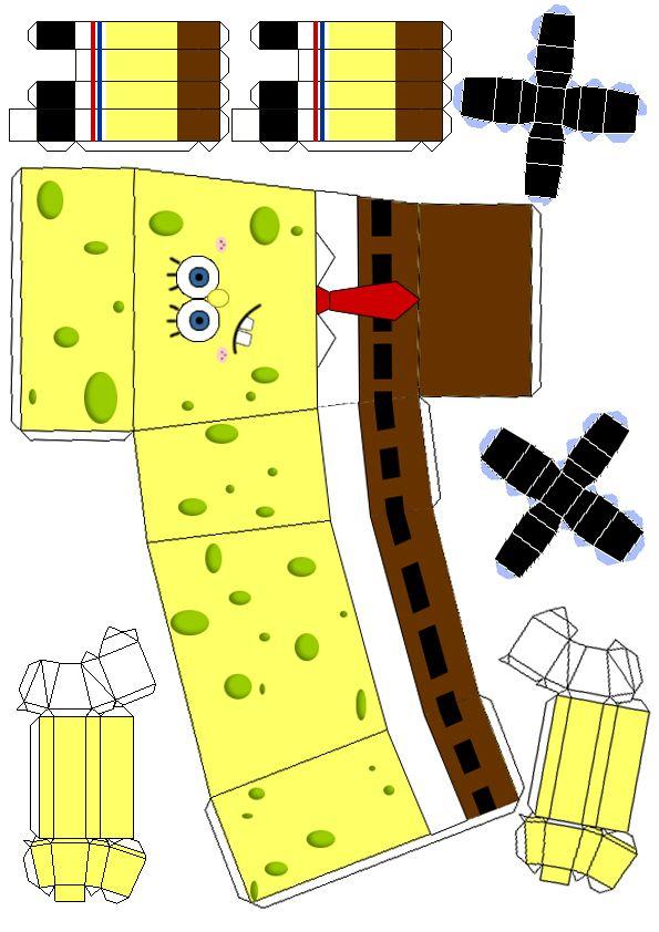 SpongeBob by ben2deviantart Paper craft Paper toys, Paper