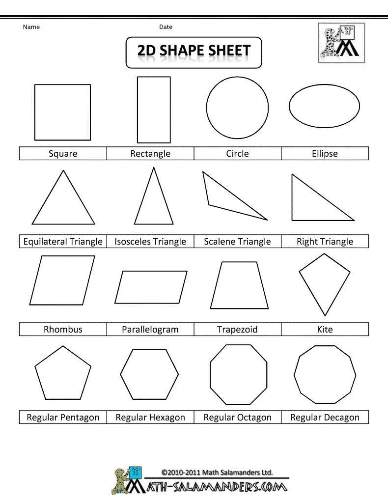 7 Free Shape Worksheets Elementary In 2020 Geometry Worksheets Shapes Worksheets Shape Worksheets For Preschool