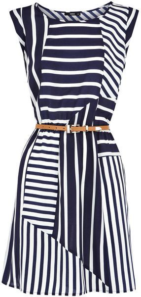 Cute variation of classic navy and white stripes. Love the brown belt 6b46e061e