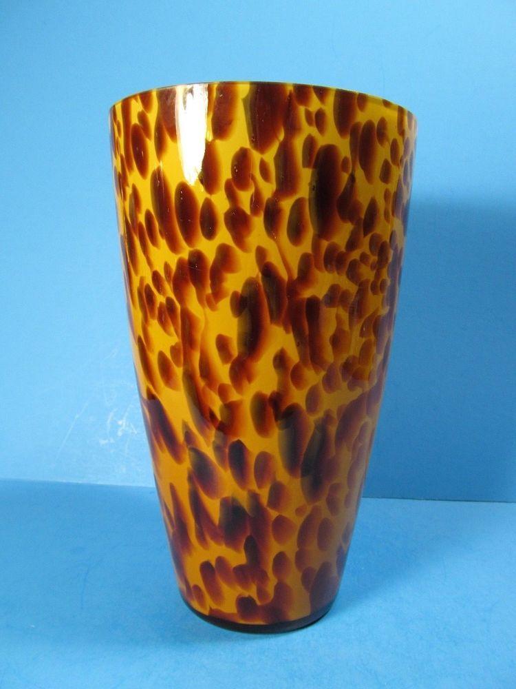 Vintage Hand Blown Amber Tone Glass Vase Classic Leopard Print