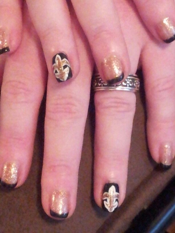 Black and gold New Orleans Saints nails by Kim Ngyun in Bartow, FL ...