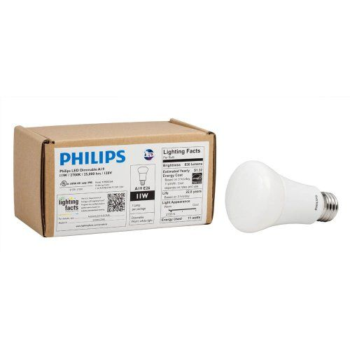 20% cut off Philips 424382 11-watt A19 LED Household Dimmable Light Bulb, Soft White