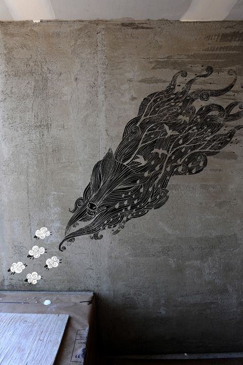 Wolf on a wall.
