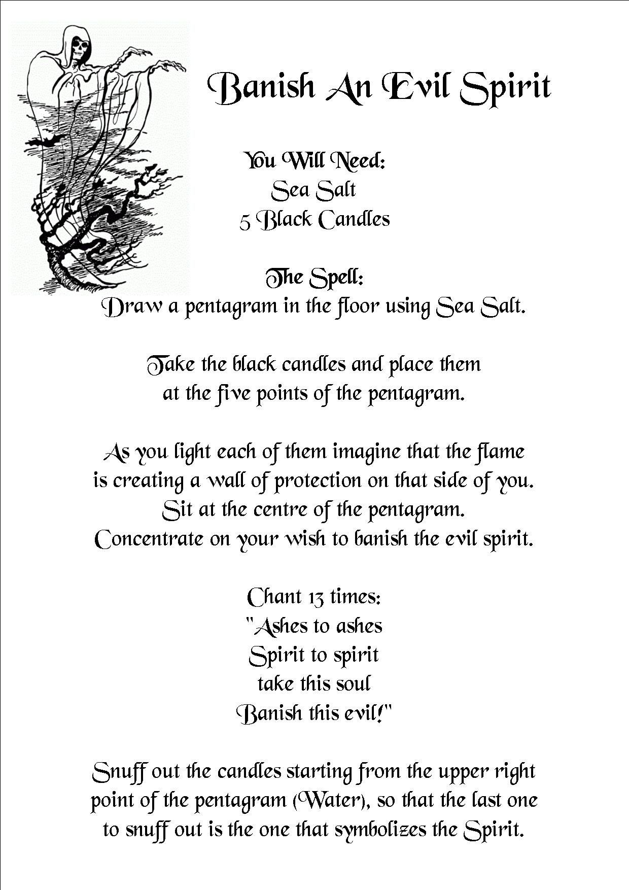 Banish an evil spirit banishing spell wiccan spell book