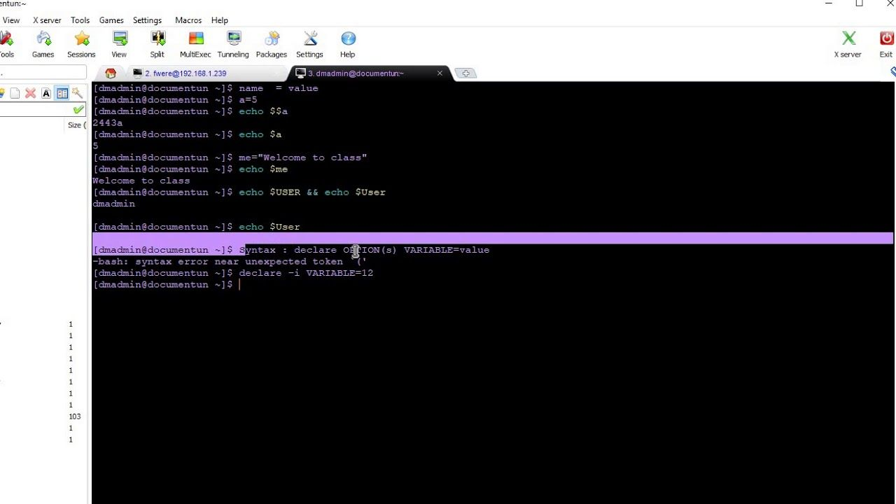 INTRO VARIABLES TRAINING FWERE   Linux-programing