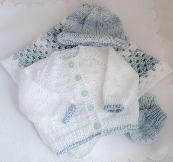 Baby Gift - Knitted Baby Cardigan, Hat & Mittens Granny Square ...