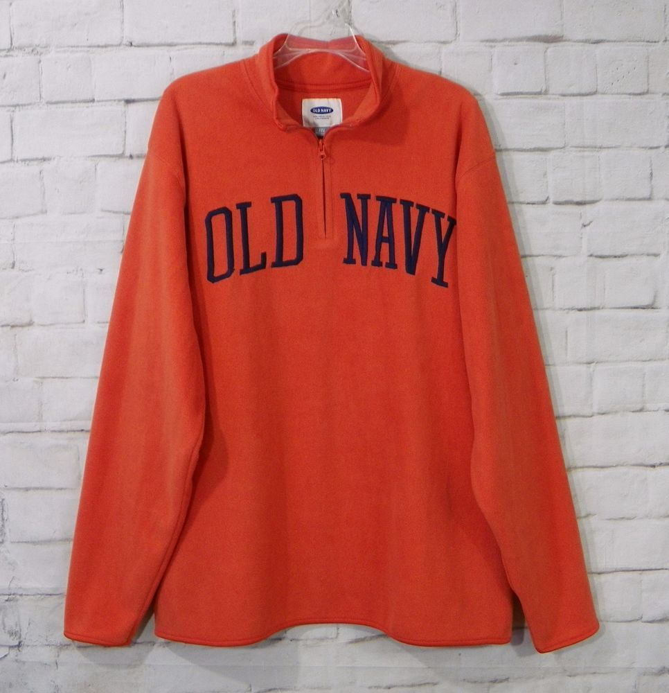 Mens OLD NAVY Orange Blue Fleece ¼ Zip Pullover Sweatshirt Shirt ...
