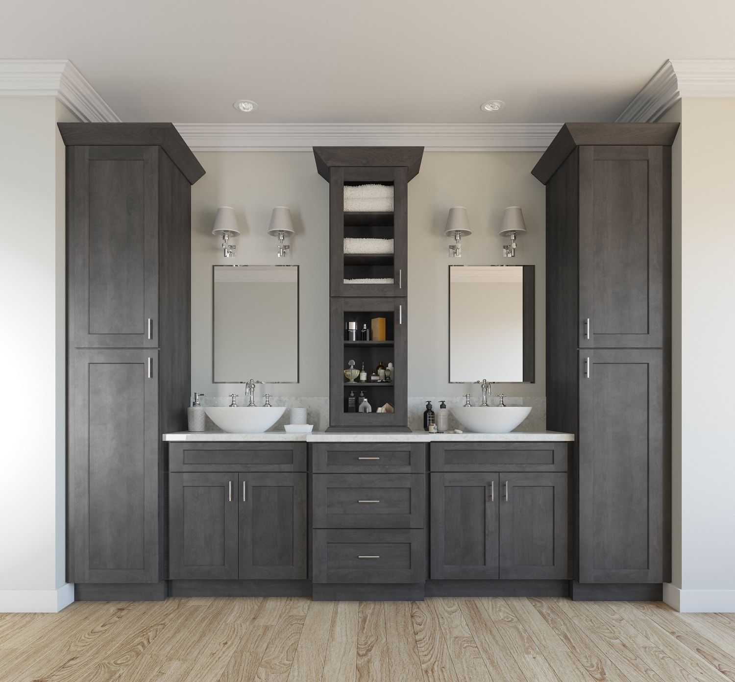natural grey shaker ready to assemble bathroom vanities bathroom rh pinterest com