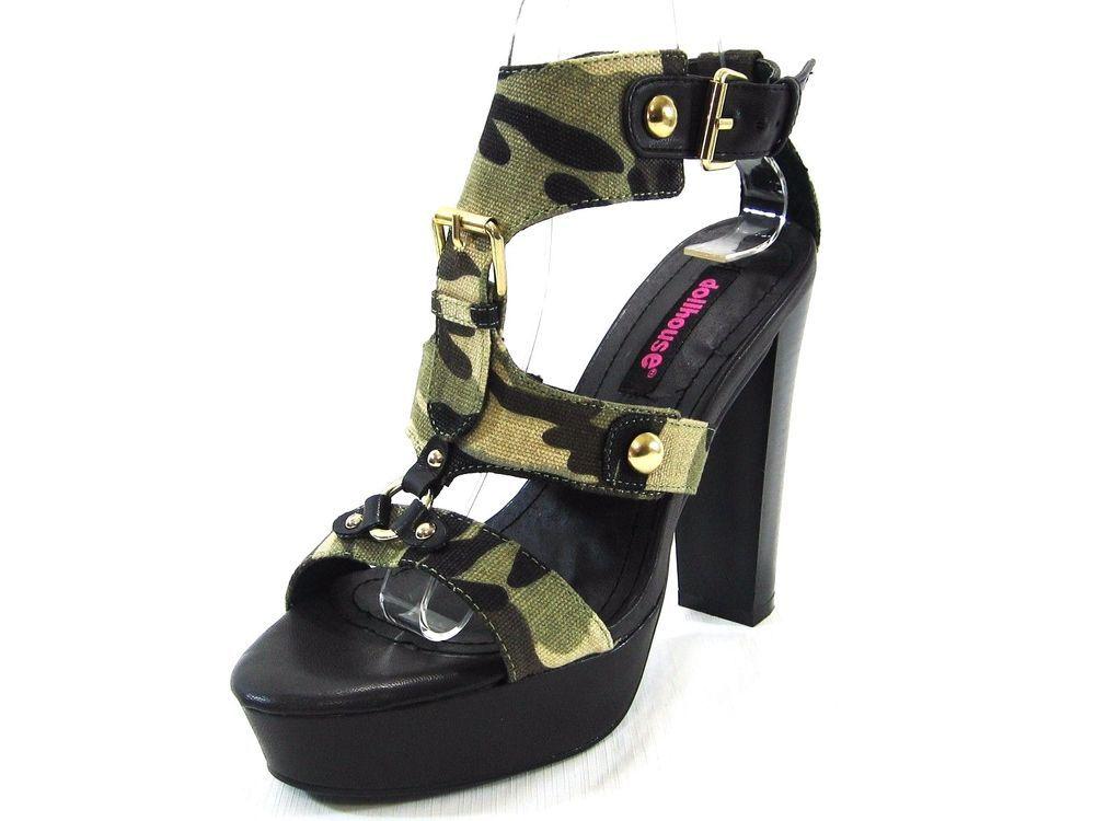 7255685b807 DollHouse Camouflage Studded Canvas Platform Chunky Heel Sandal Size 7.5M   Dollhouse  OpenToe
