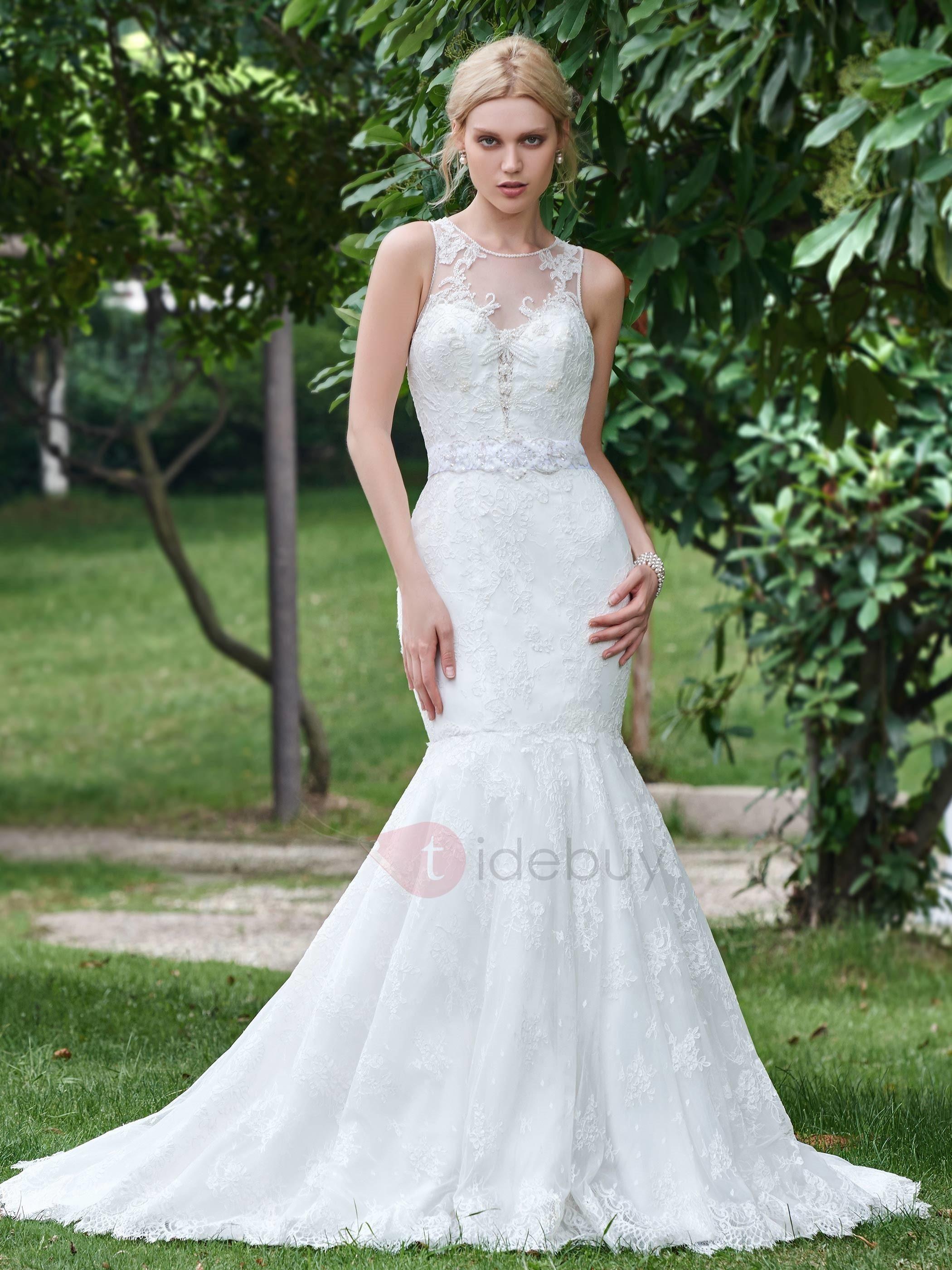 Wedding dresses with beading  TideBuy  TideBuy Stylish Scoop Neck Beaded Lace Mermaid Wedding