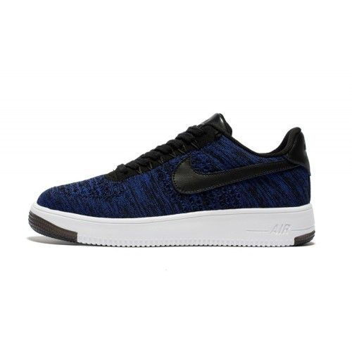 best quality 6aeec 01fae Beste Nike Air Force 1 Flyknit Herre Dame Low Bla Svart Sko