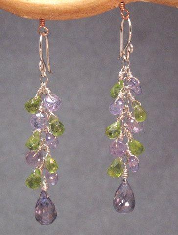 Princess 11 Tanzanite and Peridot cluster earrings