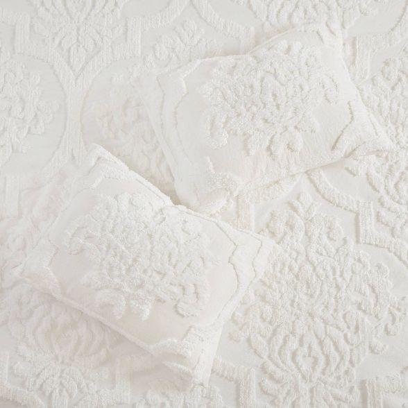 Eugenia King California King 3pc Tufted Chenille Duvet Cover Set White In 2021 Damask Duvet Covers Coverlet Set Duvet Cover Sets