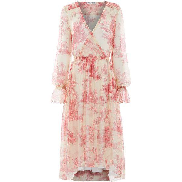 Philosophy Di Lorenzo Serafini Rose Silk Jouy Print Dress (€1.050) ❤ liked on Polyvore featuring dresses, pink, long slip dress, sheer dress, long silk slip, pink dress and long silk dress