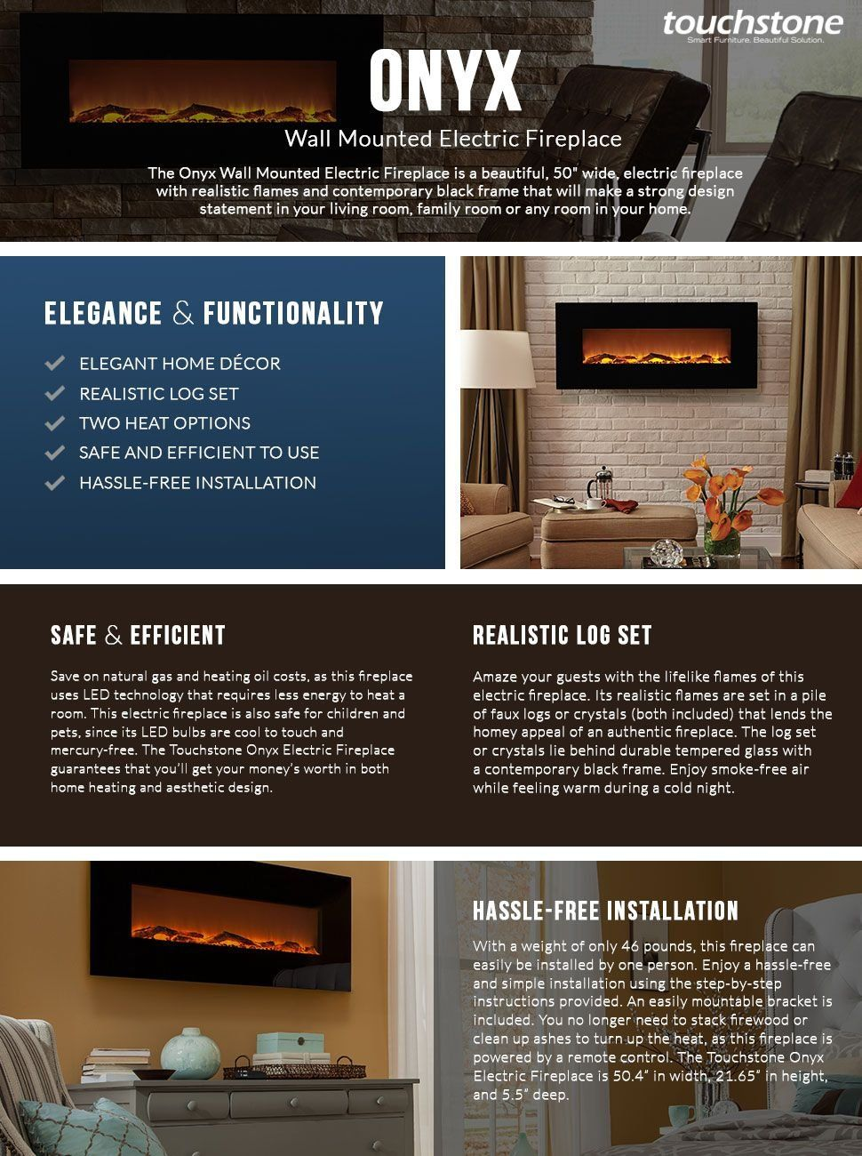 Touchstone 80001 Onyx Wall Hanging Electric Fireplace 50 Inch Wide